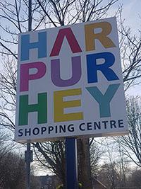 Harpurhey Shopping centre sign